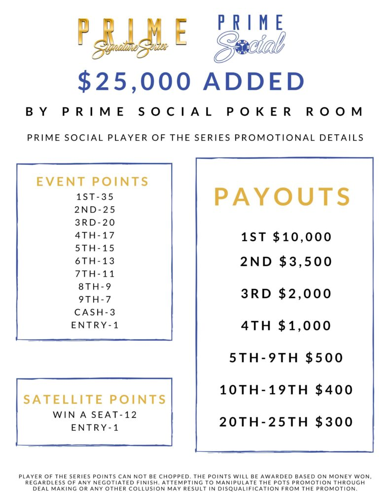 Prime Social Signature Series Player of the Series promotional details. 1st place is 35 event points with $10,000 payout.